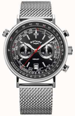 Rotary Heren henley   stalen gaas armband   zwarte wijzerplaat   GB05235/04