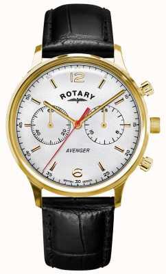 Rotary Wreker heren   zwarte lederen band   gouden kast   witte wijzerplaat GS05206/70