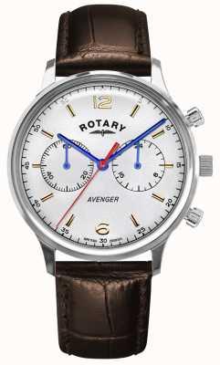Rotary Avenger voor heren | bruine leren band | zilveren wijzerplaat GS05203/70