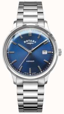 Rotary Wreker heren   roestvrij stalen armband   blauwe wijzerplaat GB05400/05