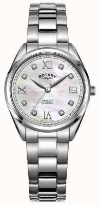 Rotary Dames henley | roestvrij stalen armband | diamanten set wijzerplaat LB05110/07/D
