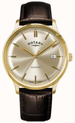 Rotary Heren wreker | bruine leren band | champagne wijzerplaat GS05403/03
