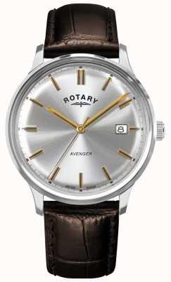 Rotary Avenger voor heren | bruine leren band | zilveren wijzerplaat | GS05400/06