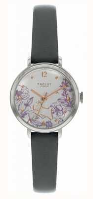 Radley | zwarte lederen band voor dames | wijzerplaat met bloemenprint | RY2979