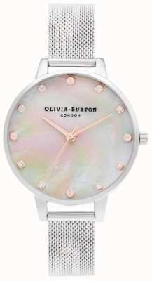 Olivia Burton demi mop wijzerplaat met schroefdetail | zilveren mesh armband | OB16SE07