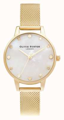 Olivia Burton | midi-mopwijzerplaat met schroefdetail | bleke gouden mesh armband | OB16SE08