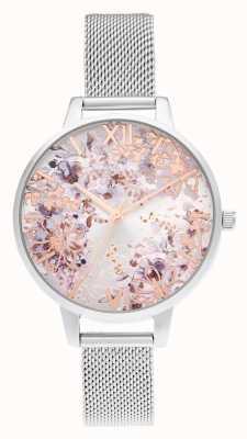 Olivia Burton Demi zilver en roségoud mesh abstract floral OB16VM46