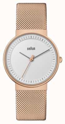 Braun Dames | klassiek | rose goud pvd mesh | witte wijzerplaat BN0031RGMHL