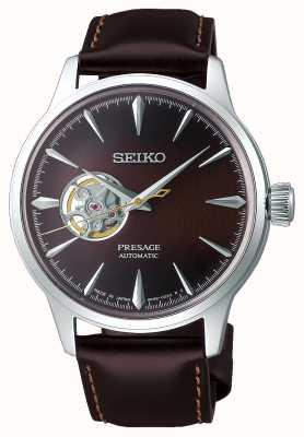 Seiko   presage dames mechanisch   bruine kalfsleer   bruine wijzerplaat SSA783J1
