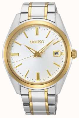 Seiko   conceptuele heren quartz   tweekleurige armband   zilveren wijzerplaat SUR312P1