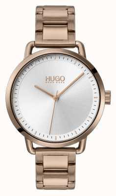 HUGO #zacht | beige vergulde stalen armband | zilveren wijzerplaat | 1540056