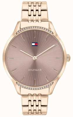 Tommy Hilfiger Grijs | roségouden ion-plated armband | taupe wijzerplaat 1782212