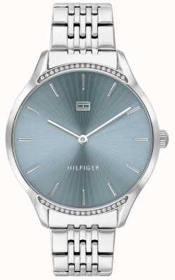 Tommy Hilfiger Grijs | roestvrijstalen armband | blauwe wijzerplaat | 1782210