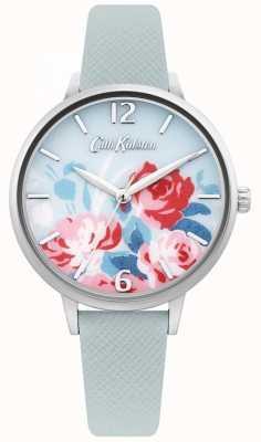 Cath Kidston Lichtblauwe leren damesriem | bloemen wijzerplaat CKL097US