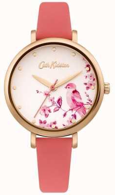 Cath Kidston Roze leren damesriem | zilveren bloemen wijzerplaat CKL099PRG