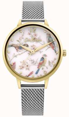 Cath Kidston | wijzerplaat met bloemenprint voor dames | zilveren mesh armband CKL095GSM
