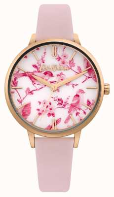 Cath Kidston Wijzerplaat met bloemen- / vogelprint | roze leren riem | CKL106PRG