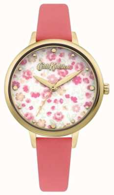 Cath Kidston Wijzerplaat met bloemenprint voor dames | koraal lederen band CKL096PG