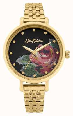 Cath Kidston oxford voor dames | vergulde stalen armband | bloemen wijzerplaat CKL087GM