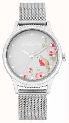 Cath Kidston Zilveren gaasband | witte bloemenprint wijzerplaat CKL091SM