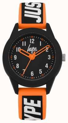 Hype | oranje / zwarte siliconen band | zwarte wijzerplaat | HYK004OB