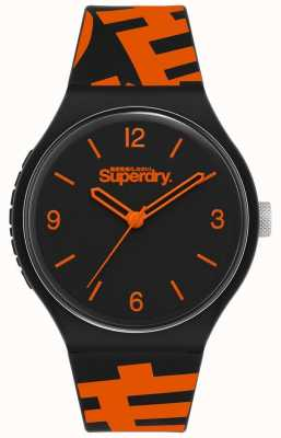 Superdry Zwart / oranje siliconen band   mat zwarte wijzerplaat   SYG294BO