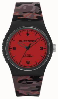 Superdry Unisex   rode wijzerplaat   camouflage rubberen band SYG296BR