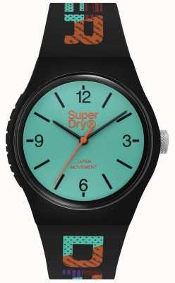 Superdry Matt groenblauw wijzerplaat | zwarte siliconen band | SYG301BAU