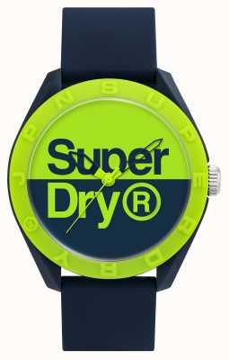 Superdry Navy siliconen band | blauw / groene wijzerplaat SYG303UN