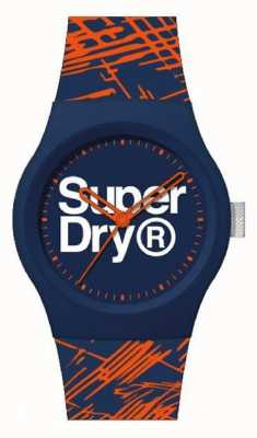 Superdry Marine / oranje siliconen band | marine / oranje / witte wijzerplaat | SYG292OU