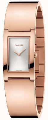 Calvin Klein   polijsten   rosé vergulde stalen armband   zilveren wijzerplaat   K9C2N616
