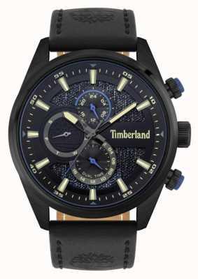 Timberland | buitenzoekers | zwarte lederen band | zwarte / blauwe wijzerplaat | 15953JSB/02
