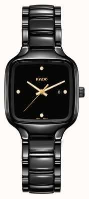 RADO Echte vierkante diamanten | zwarte keramische armband R27080722