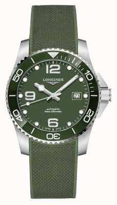 Longines Hydroconquest 41 mm | groene wijzerplaat | rubberen band L37814069