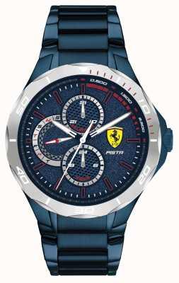 Scuderia Ferrari | heren pista | blauwe ion-plated stalen armband | blauwe wijzerplaat 0830759