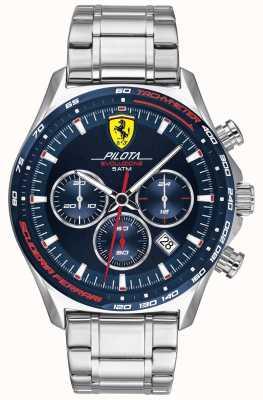 Scuderia Ferrari | Pilota Evo | roestvrijstalen armband | blauwe wijzerplaat 0830749