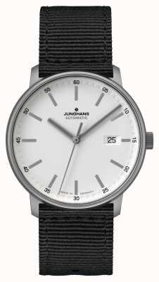 Junghans Vorm een | titaan | automatisch | zwarte nato-band | witte wijzerplaat 027/2000.00