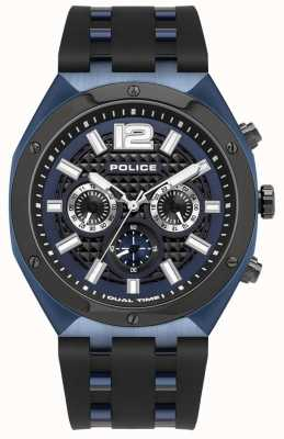 Police Kediri | zwarte rubberen band | blauwe wijzerplaat 15995JSBLU/03P