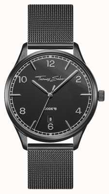 Thomas Sabo | glam en soul | zwarte armband voor dames | zwarte wijzerplaat WA0362-202-203-36