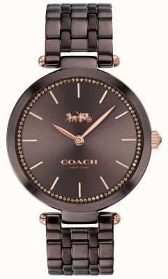 Coach | vrouwenpark | zwart / bruine stalen armband | bruine wijzerplaat 14503507