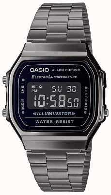 Casio vintage | zilveren roestvrijstalen armband | zwarte wijzerplaat | A168WEGG-1BEF