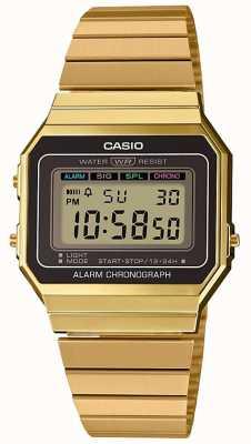 Casio collectie | vergulde stalen armband | digitale wijzerplaat A700WEG-9AEF