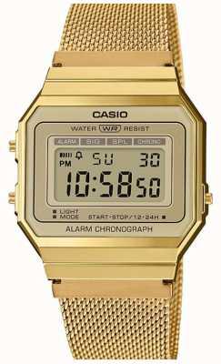 Casio collectie | stalen mesh armband | digitale wijzerplaat A700WEMG-9AEF