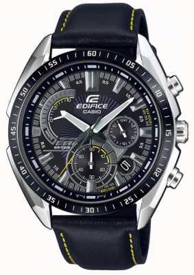 Casio | gebouw | chronograaf | zwarte leren band | zwarte wijzerplaat EFR-570BL-1AVUEF