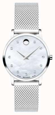 Movado Museum klassiek   zilveren mesh armband   parelmoer wijzerplaat 0607491