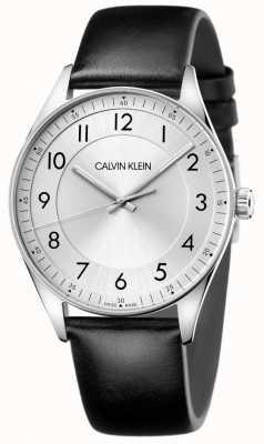 Calvin Klein | helder | zwarte leren band | zilveren wijzerplaat KBH211C6