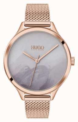 HUGO #smash | grijze blush wijzerplaat | rose gouden mesh 1540060