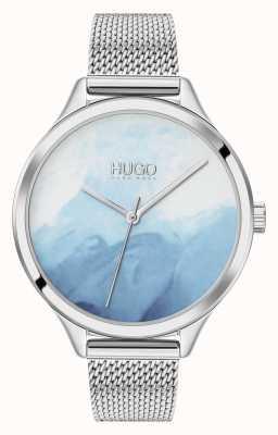 HUGO #smash | blauwe blush wijzerplaat | roestvrijstalen gaas 1540061