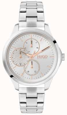 HUGO #fearless | zilveren wijzerplaat | roestvrij stalen armband 1540048