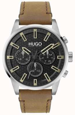 HUGO #seek | zwarte wijzerplaat | bruine leren band 1530150